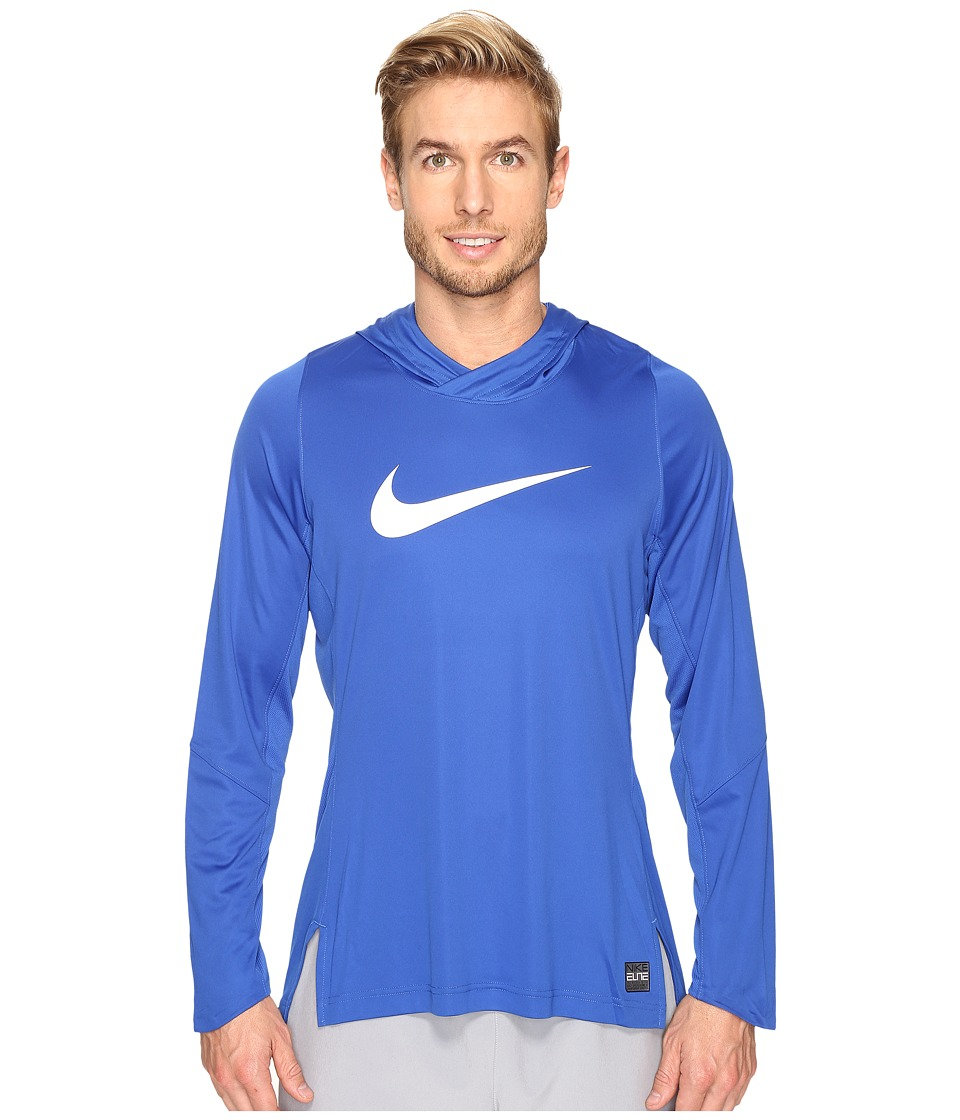 Nike - Dry Elite Long Sleeve Basketball Top (Game Royal/Game Royal/White/White) Men's Clothing