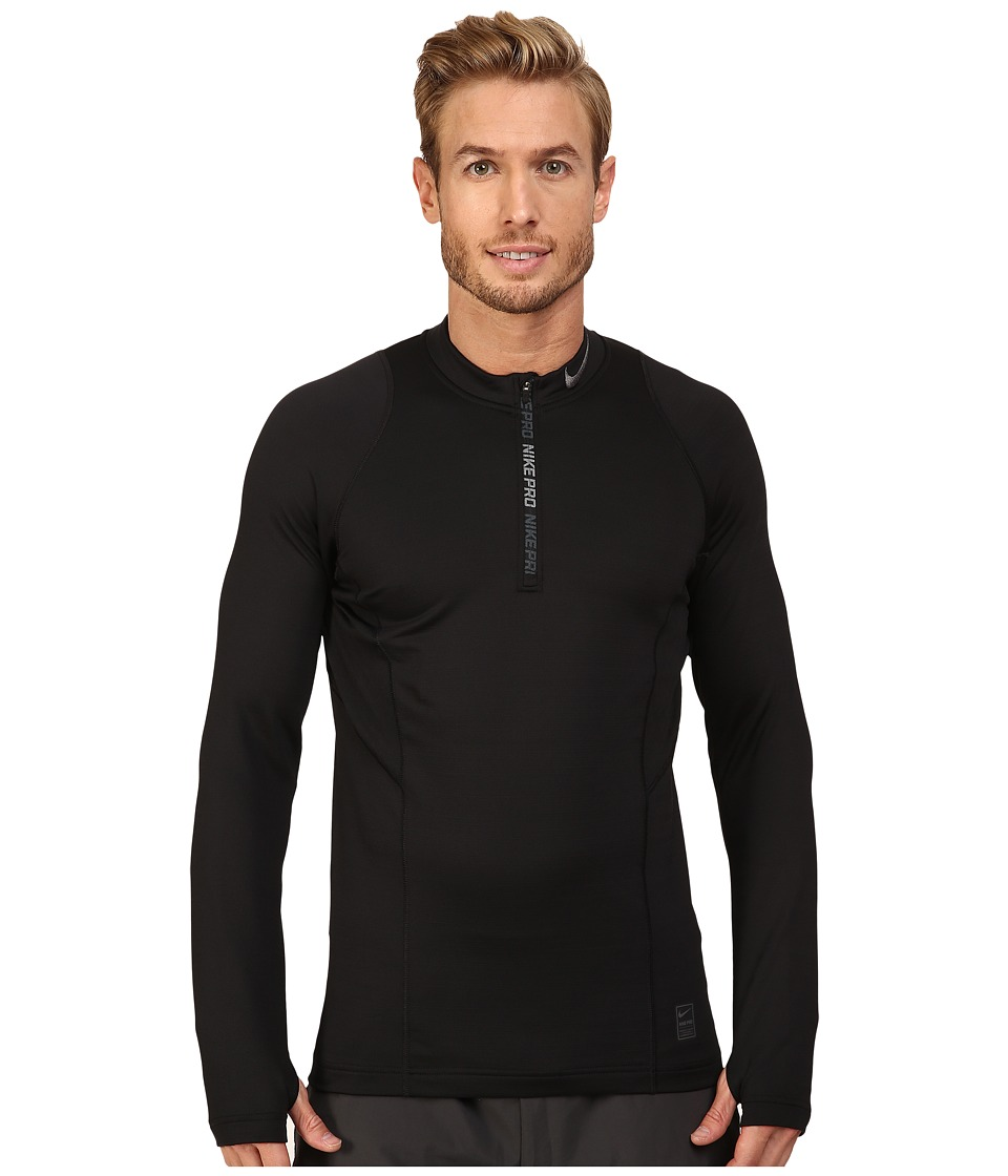Nike - Pro Hyperwarm 1/4 Zip Training Top (Black/Black/Dark Grey) Men's Clothing