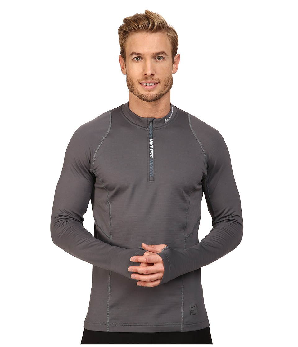 Nike - Pro Hyperwarm 1/4 Zip Training Top (Dark Grey/Dark Grey/Wolf Grey) Men's Clothing