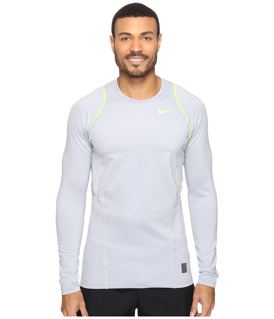 Nike - Pro Hyperwarm Long Sleeve Training Top (Wolf Grey/Volt/Volt) Men's Clothing