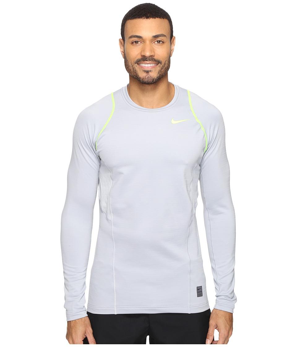 Nike - Pro Hyperwarm Long Sleeve Training Top (Wolf Grey/Volt/Volt) Men's Clothing