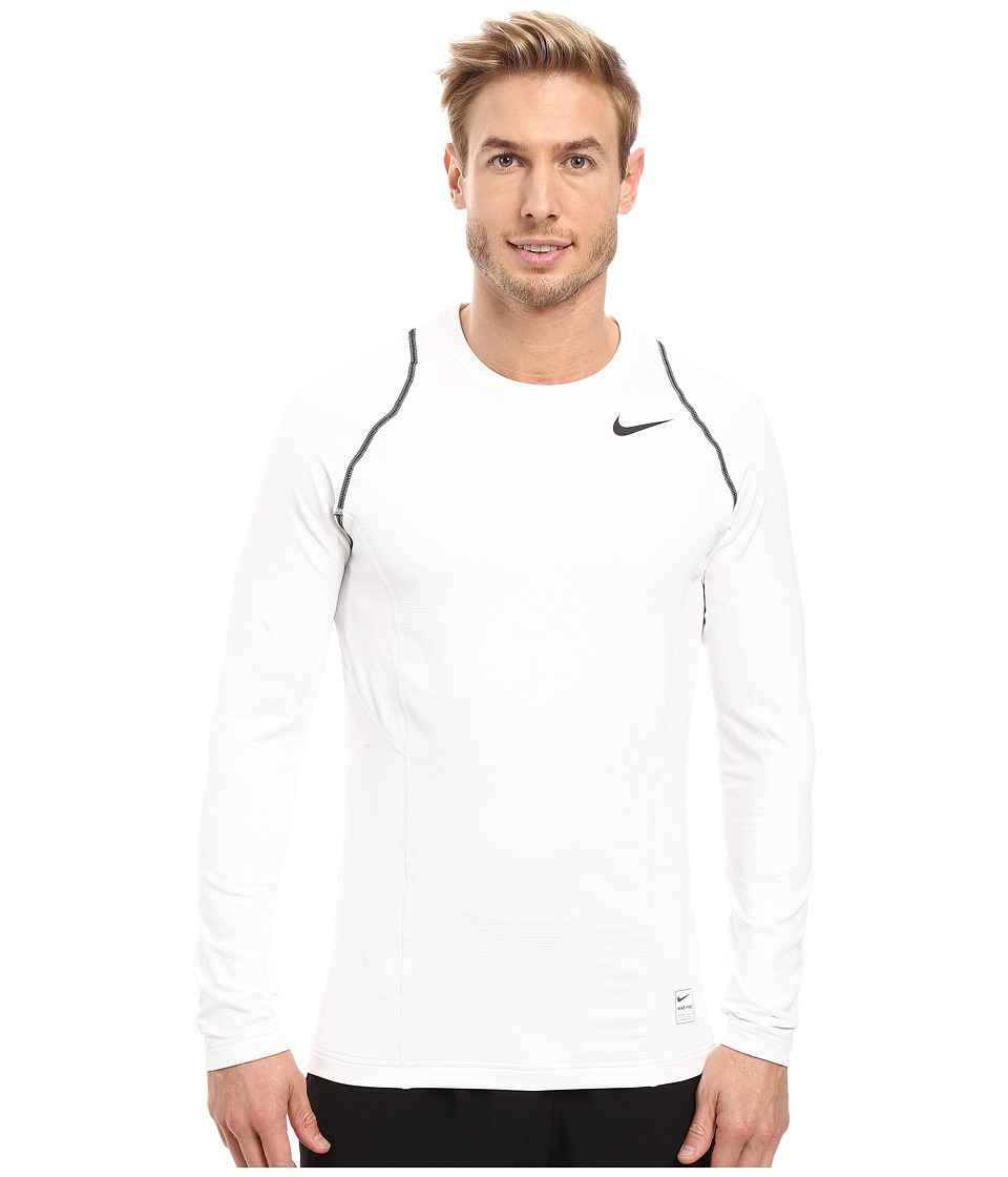 Nike - Pro Hyperwarm Long Sleeve Training Top (White/Black/Black) Men's Clothing