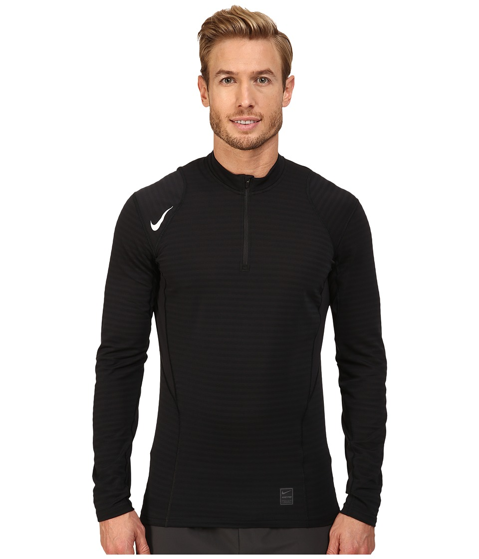 Nike - Pro Warm 1/4 Zip Long Sleeve Top (Black/Dark Grey/White) Men's Clothing