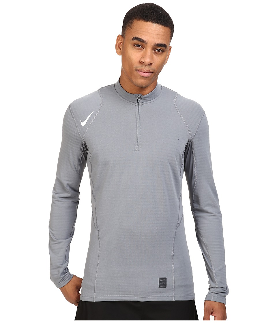 Nike - Pro Warm 1/4 Zip Long Sleeve Top (Cool Grey/Black/White) Men's Clothing