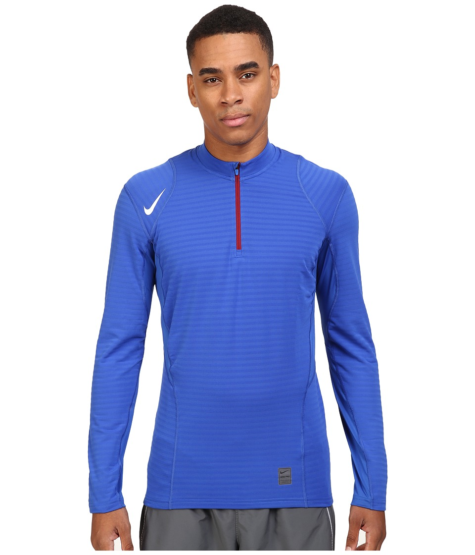 Nike - Pro Warm 1/4 Zip Long Sleeve Top (Game Royal/Deep Royal Blue/White) Men's Clothing