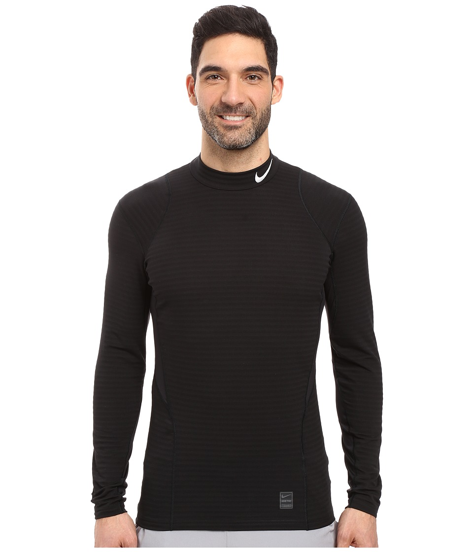 Nike - Pro Warm Mock Long Sleeve Training Top (Black/Dark Grey/White) Men's Clothing