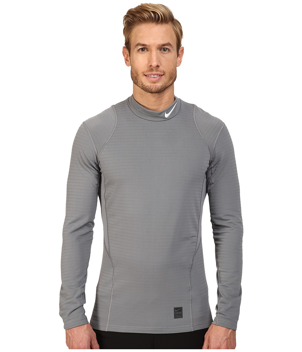 Nike - Pro Warm Mock Long Sleeve Training Top (Cool Grey/Black/White) Men's Clothing