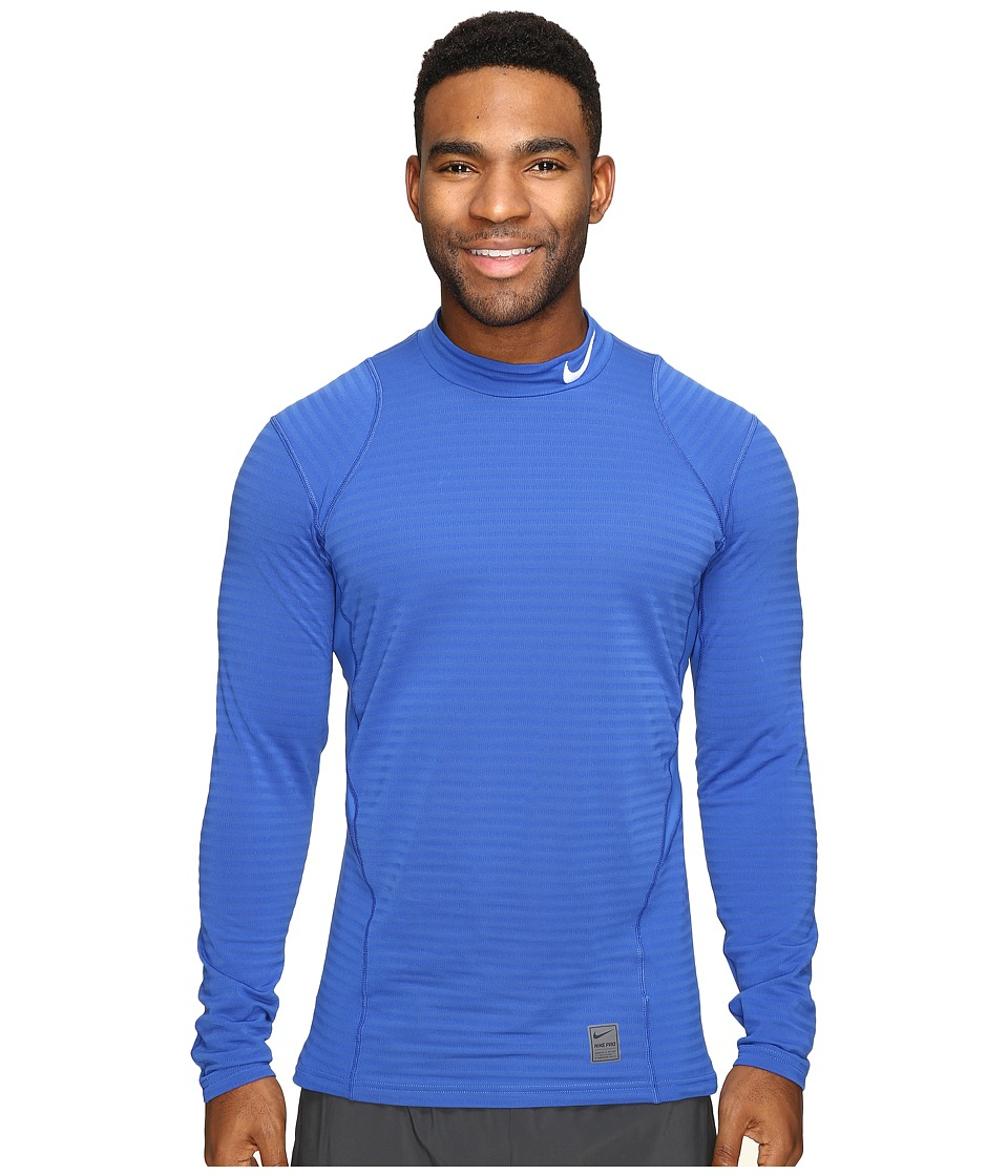 Nike - Pro Warm Mock Long Sleeve Training Top (Game Royal/Deep Royal Blue/White) Men's Clothing