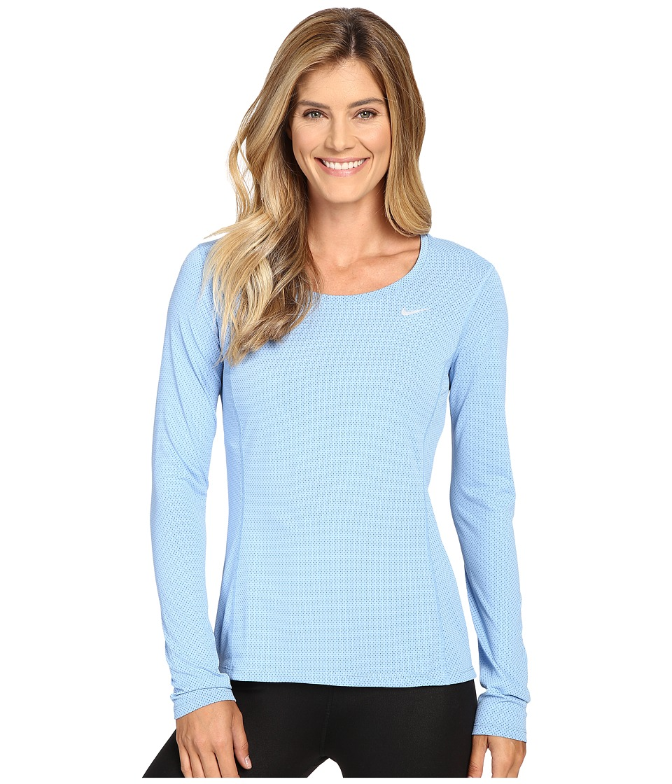 Nike - Dri-FIT Contour Long Sleeve (Light Blue/Reflective Silver) Women's Clothing