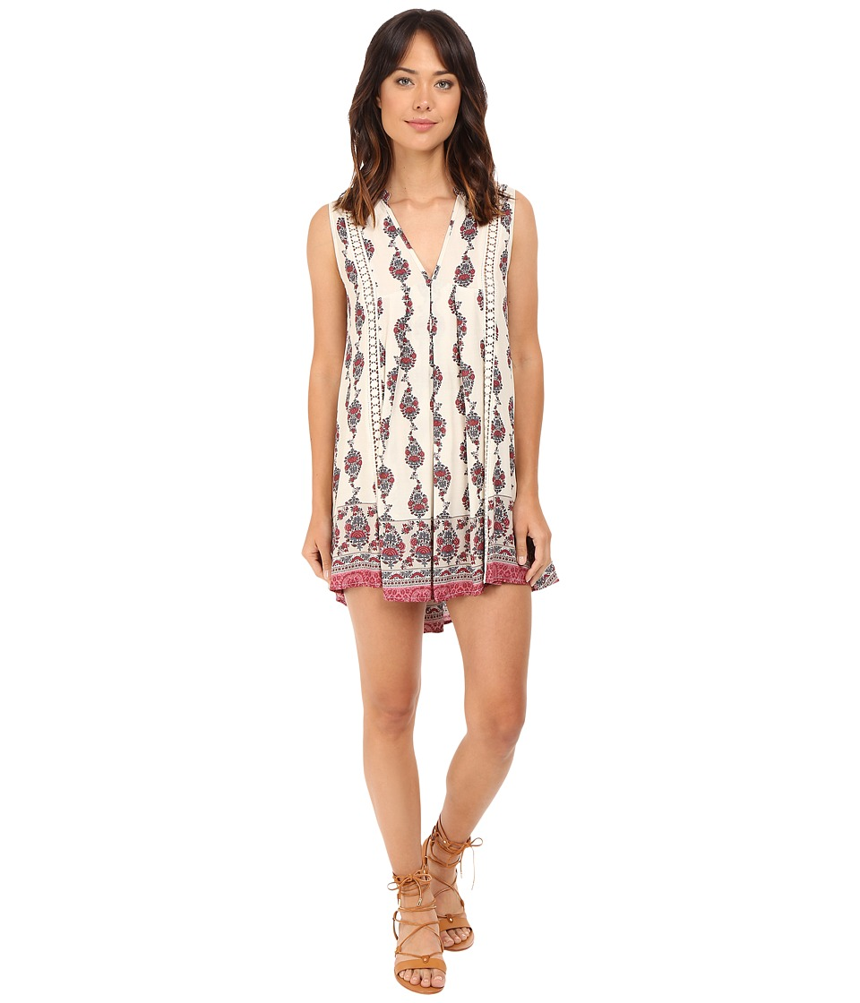 Brigitte Bailey - Hazelle Border Print Dress with Lace Inset (Cream) Women's Dress
