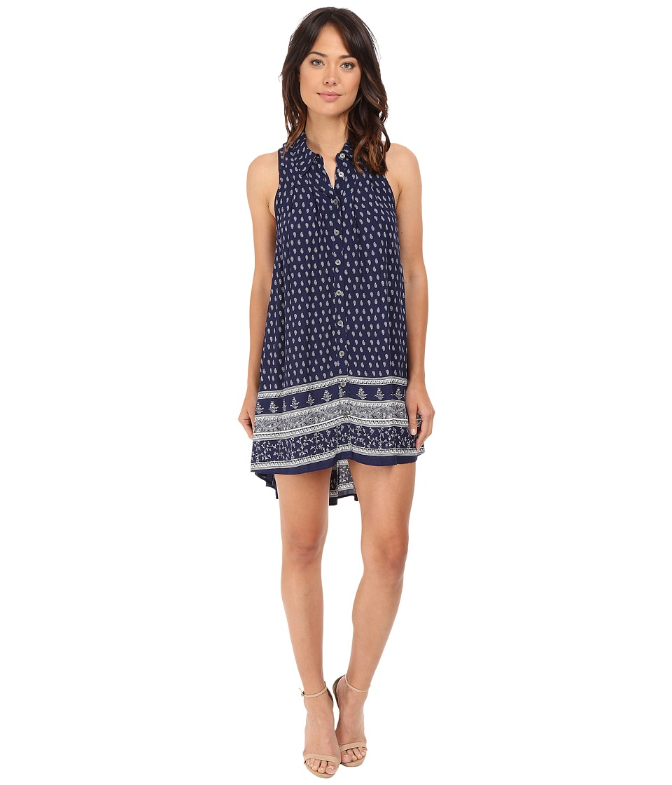 Brigitte Bailey - Livina High-Low Button Down Dress (Navy/White) Women's Dress