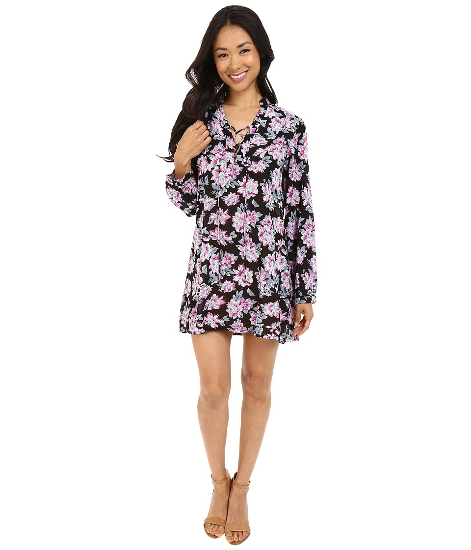 Brigitte Bailey - Kyne Long Sleeve Floral Shift Dress (Black Print) Women's Dress