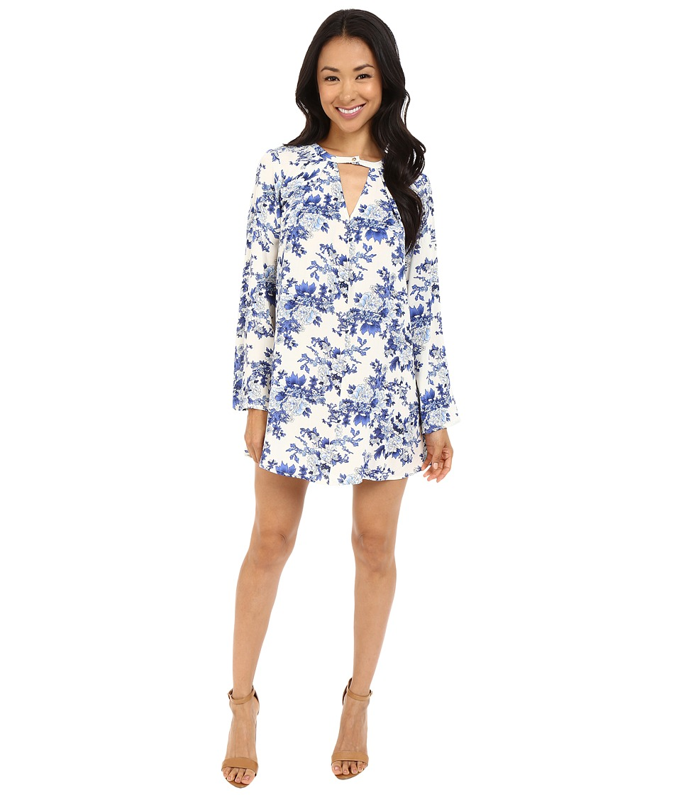 Brigitte Bailey - Hayden Printed Swing Dress with High Neck (Blue/White) Women's Dress