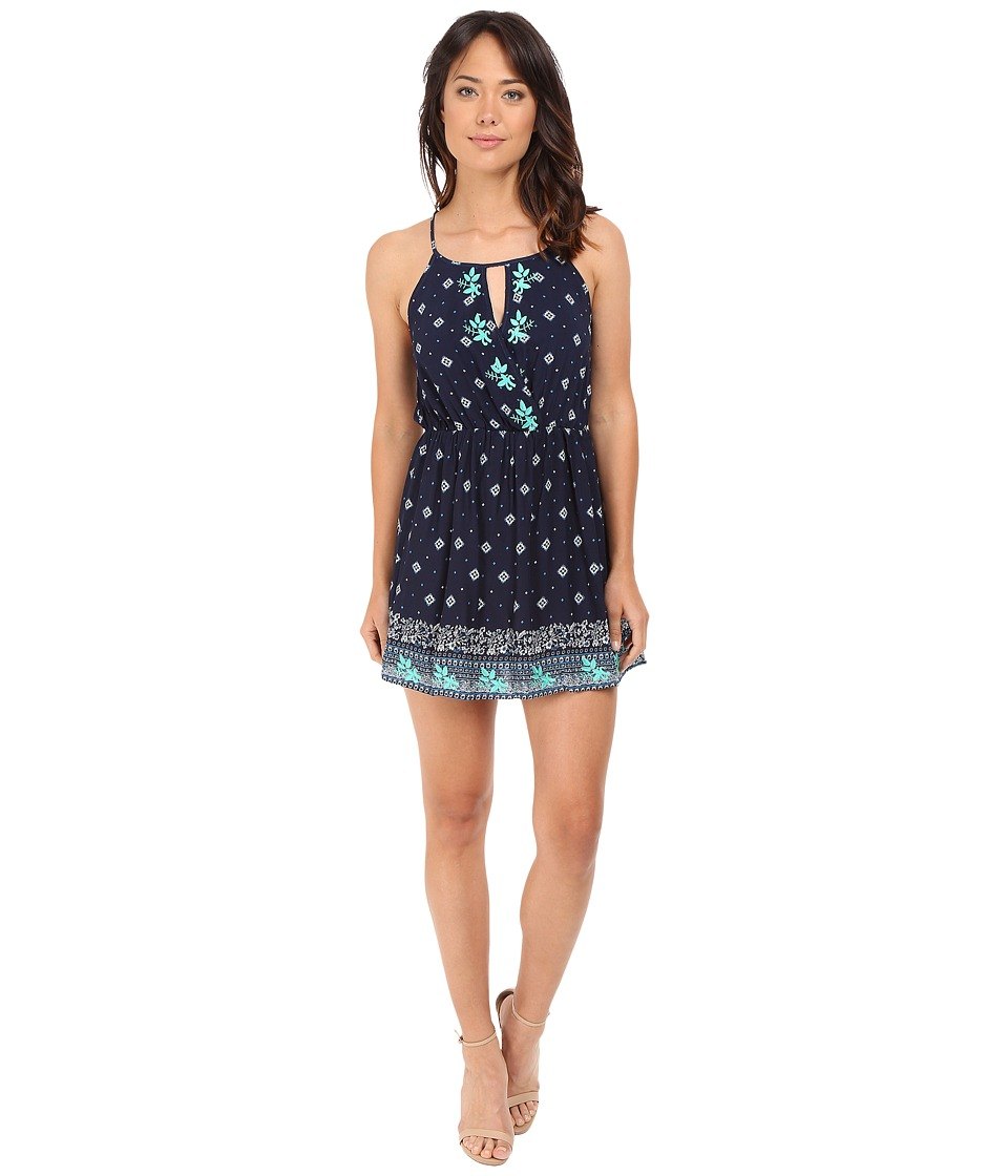 Brigitte Bailey - Selina Embroidered Border Print Dress (Navy/Teal) Women's Dress