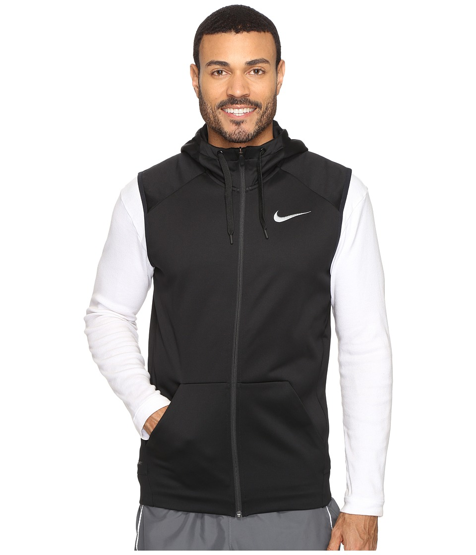 Nike - Therma Hoodie Sleeveless Full Zip Swoosh (Black/White) Men's Sweatshirt
