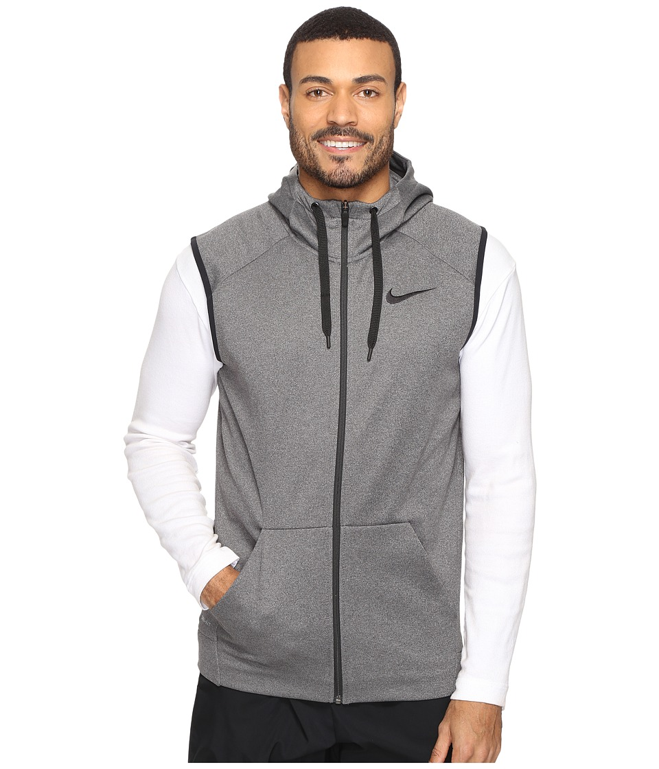 Nike - Therma Hoodie Sleeveless Full Zip Swoosh (Charcoal Heather/Black) Men's Sweatshirt