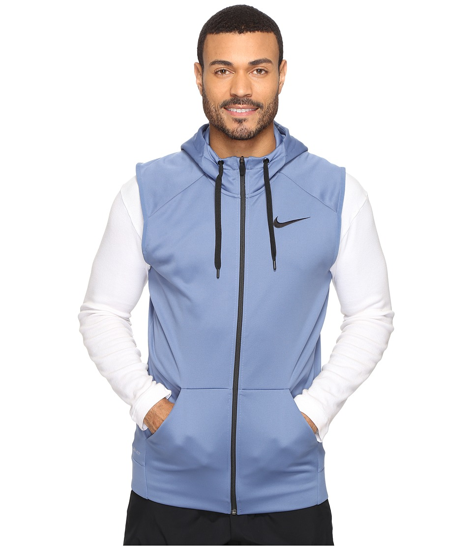 Nike - Therma Hoodie Sleeveless Full Zip Swoosh (Ocean Fog/Black) Men's Sweatshirt