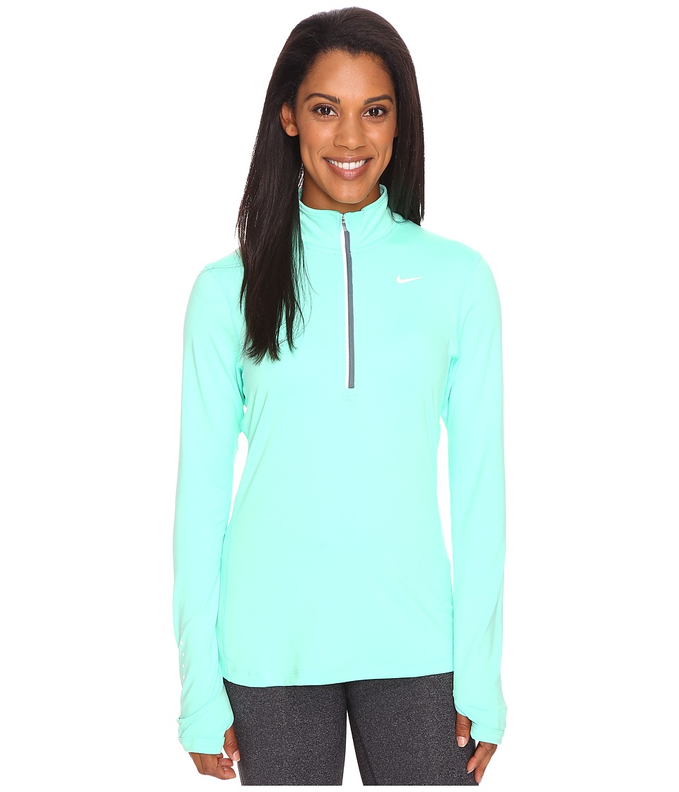 Nike - Dri-FIT Element Half Zip (Green Glow/Hasta/Reflective Silver) Women's Long Sleeve Pullover