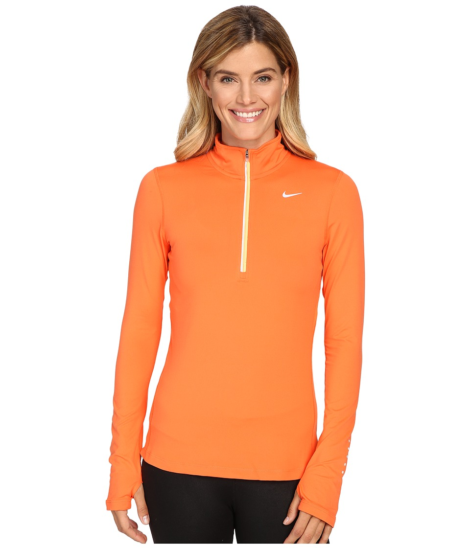 Nike - Dri-FIT Element Half Zip (Turf Orange/Peach Cream/Reflective Silver) Women's Long Sleeve Pullover