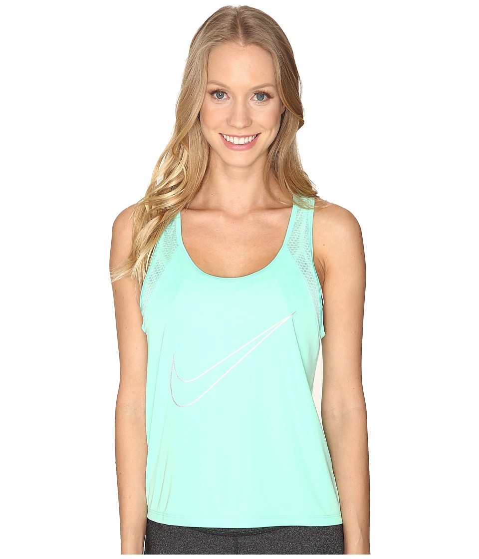 Nike - Dry Run Fast Running Tank Top (Green Glow/Reflective Silver) Women's Sleeveless