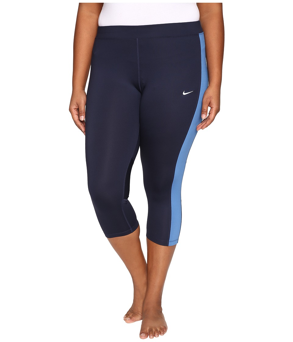 Nike - Dri-FIT Essential Running Crop (Size 1X-3X) (Obsidian/Star Blue/Reflective Silver) Women's Capri