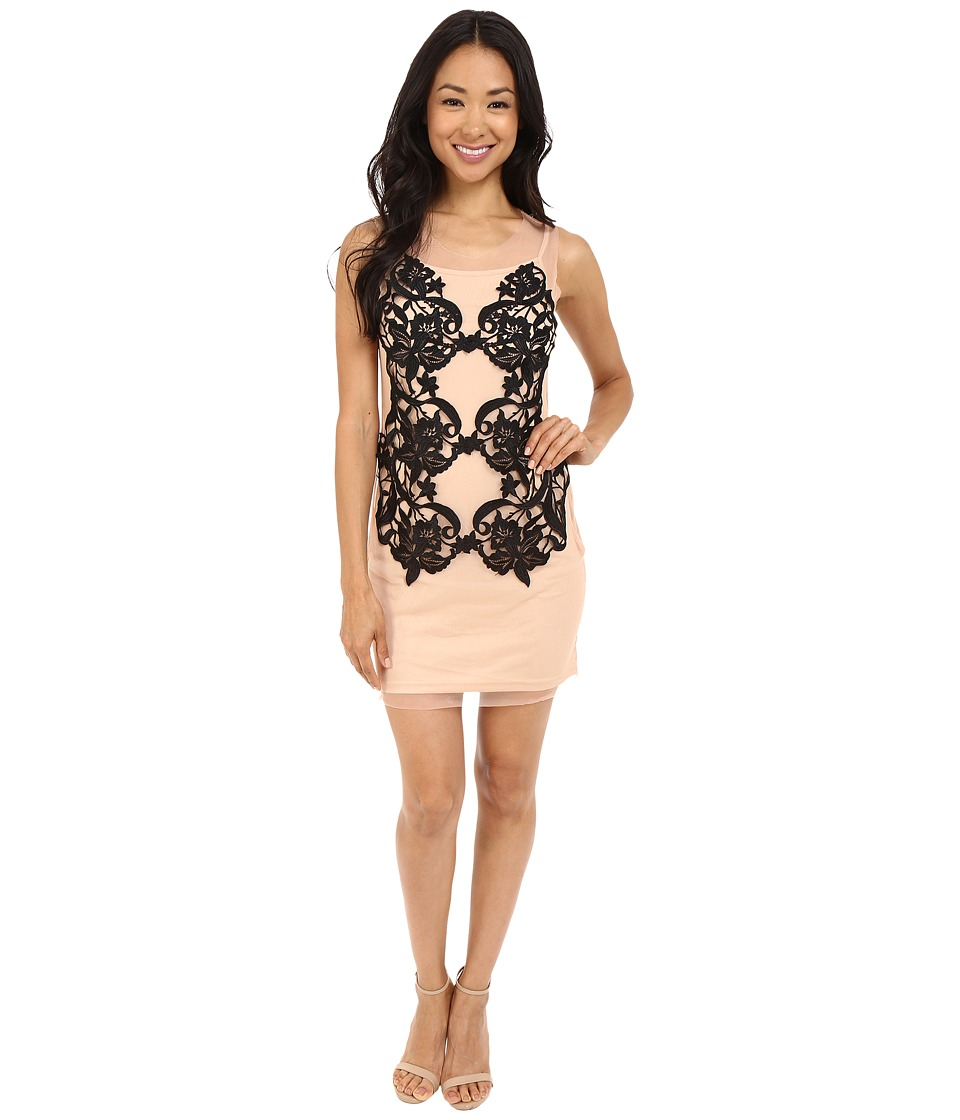 Brigitte Bailey - Vania Mesh Tank Dress with Lace Detail (Pink/Black) Women's Dress