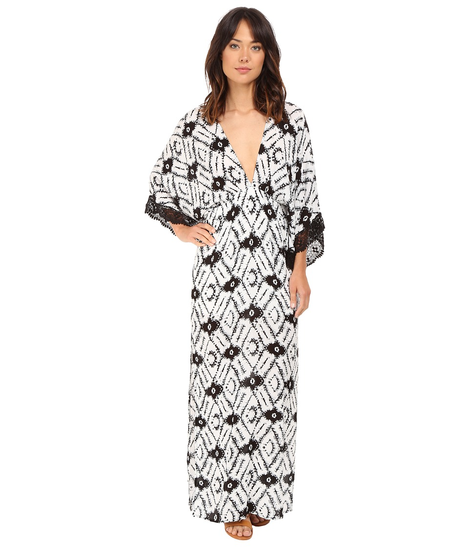 Brigitte Bailey - Pippa Deep V-Neck Maxi Dress with Crochet Trim (Black/Ivory) Women's Dress