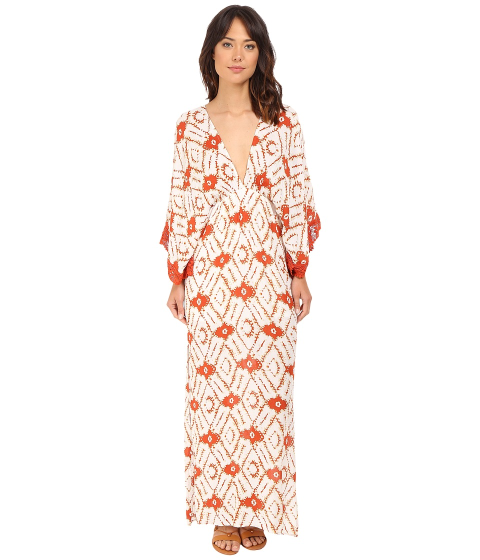 Brigitte Bailey - Pippa Deep V-Neck Maxi Dress with Crochet Trim (Rust/Ivory) Women's Dress