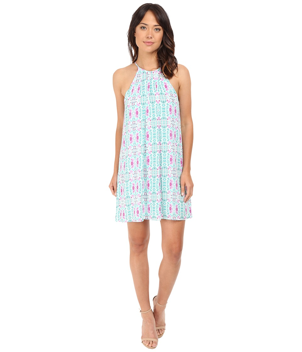 Brigitte Bailey - Athena Spaghetti Strap Pleated Dress (Teal/Pink) Women's Dress