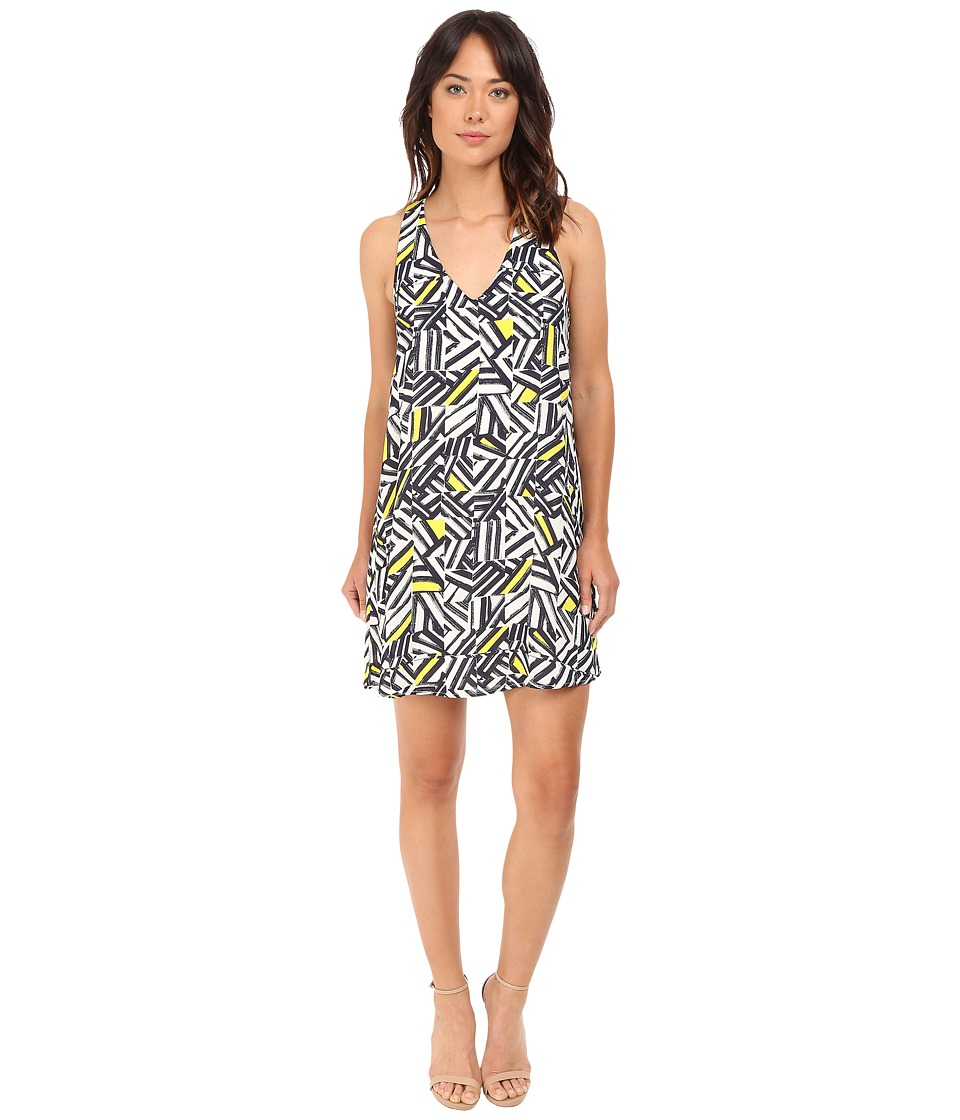 Brigitte Bailey Minna V-Neck Printed Swing Dress (Navy/Yellow) Women