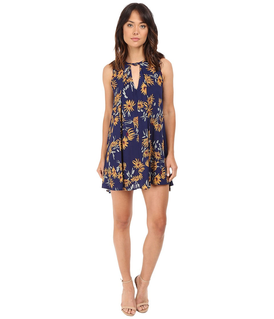 Brigitte Bailey - Uzma Sunflower Print Sleeveless Dress (Navy/Yellow) Women's Dress