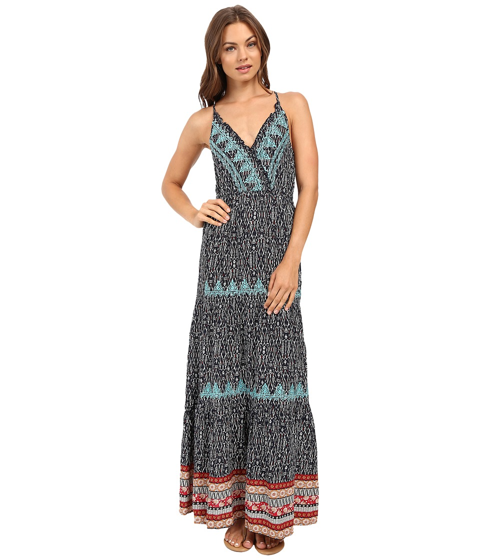Brigitte Bailey - Merrin Overlap Strappy Maxi Dress with Lace Detail (Navy/Teal) Women's Dress