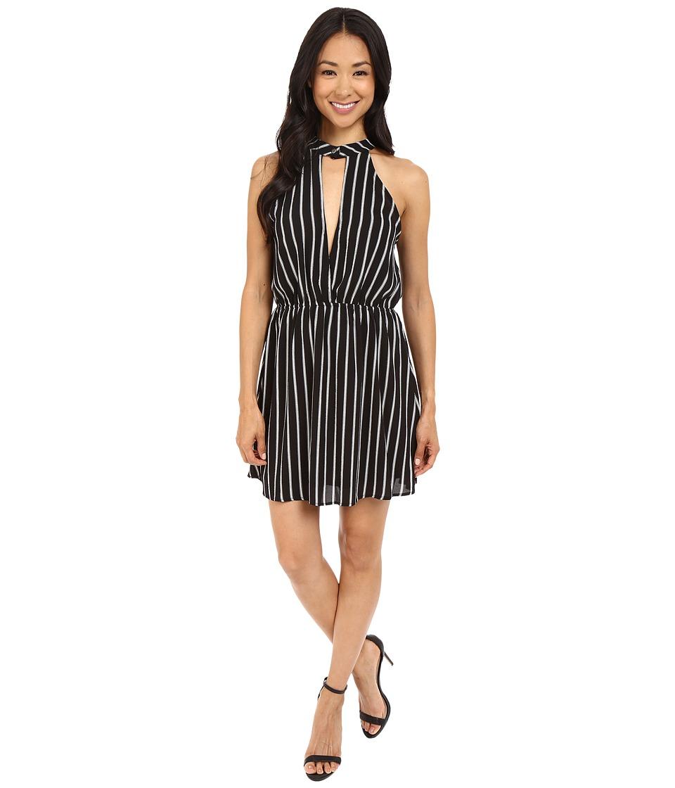 Brigitte Bailey - Sharna Striped Overlay Dress (Black/Ivory) Women's Dress