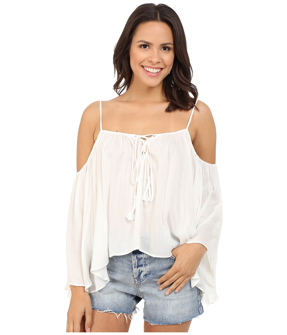 Brigitte Bailey - Cressida Cold Shoulder Top with Tassels (White) Women's Clothing