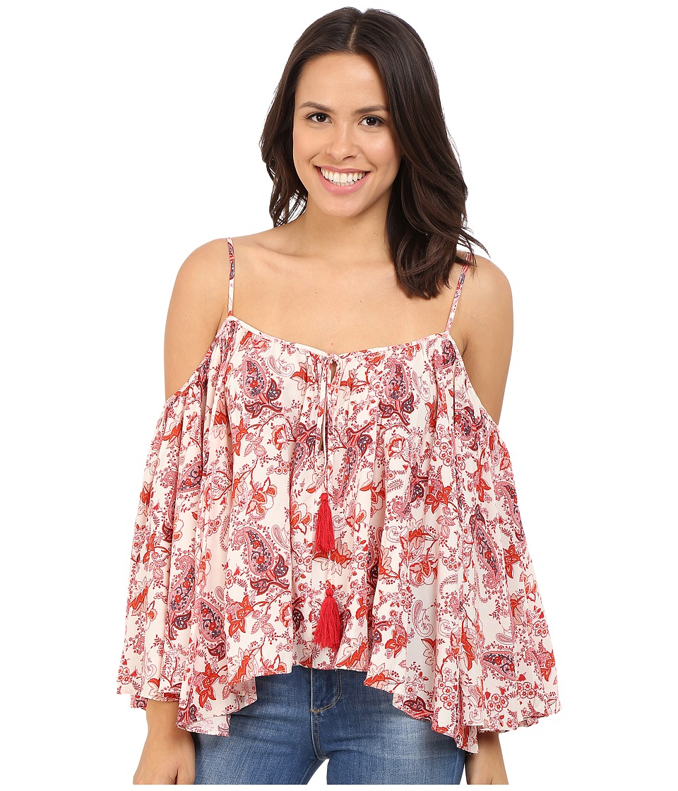 Brigitte Bailey - Cerys Printed Cold Shoulder Top with Tassels (Red/Ivory) Women's Clothing
