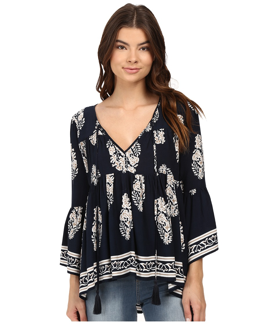 Brigitte Bailey - Naomi Printed Top with Bell Sleeves (Navy/Taupe) Women's Clothing