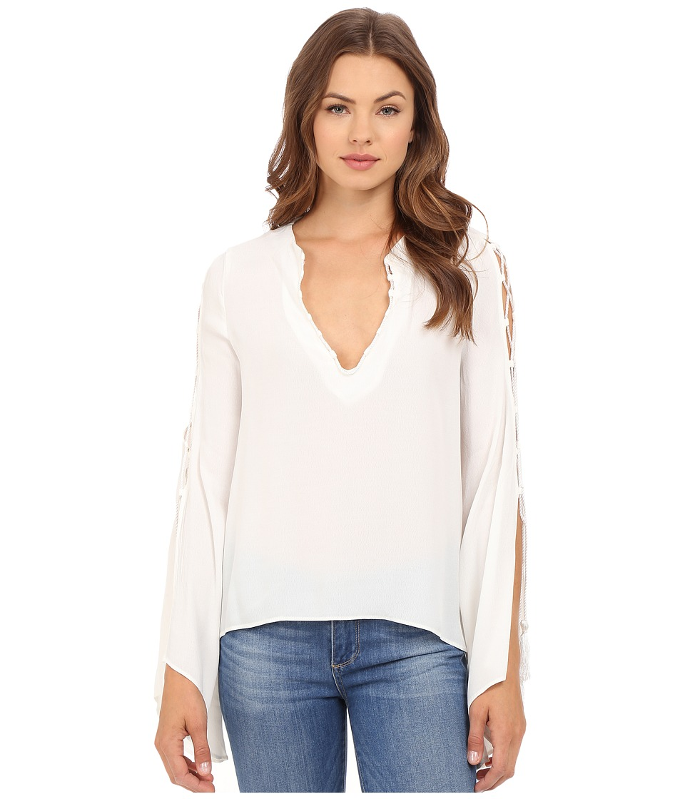 Brigitte Bailey - Philippa V-Neck Long Sleeve Top with Tassels (Ivory) Women's Clothing