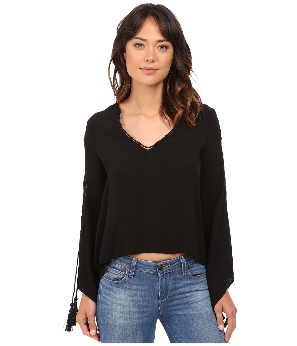 Brigitte Bailey - Philippa V-Neck Long Sleeve Top with Tassels (Black) Women's Clothing
