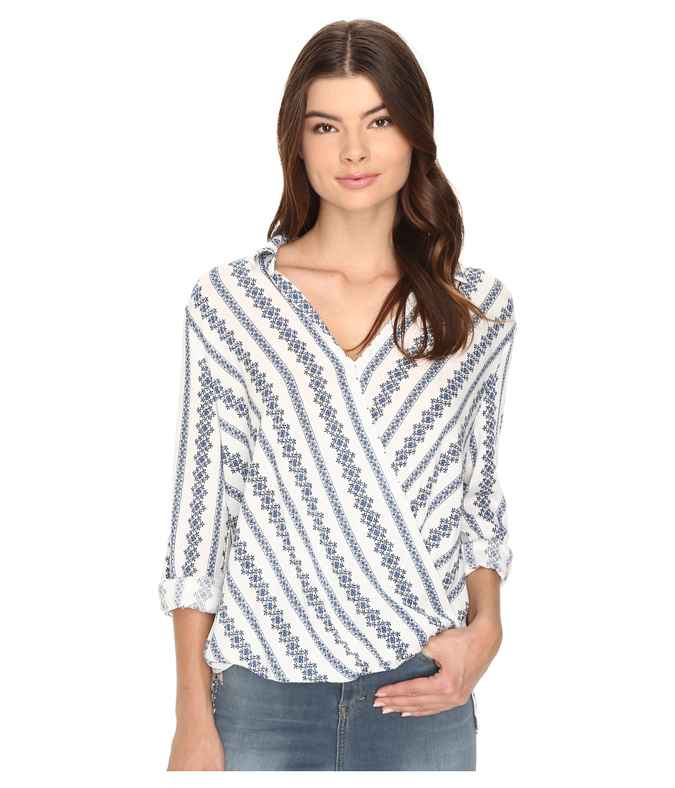 Brigitte Bailey - Cedany Long Sleeve Overlap Top (Off-White/Blue) Women's Clothing
