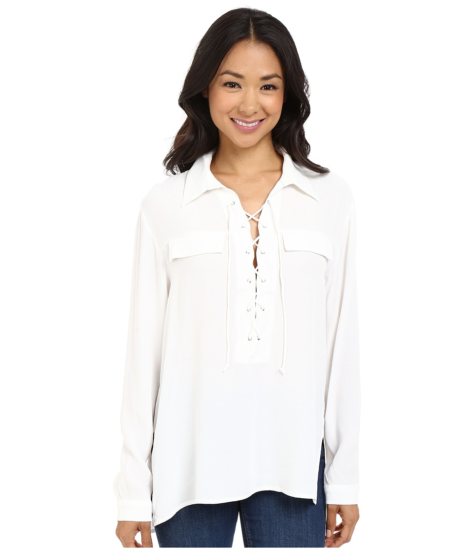 Brigitte Bailey - Lydia Long Sleeve Lace-Up Top (White) Women's Clothing