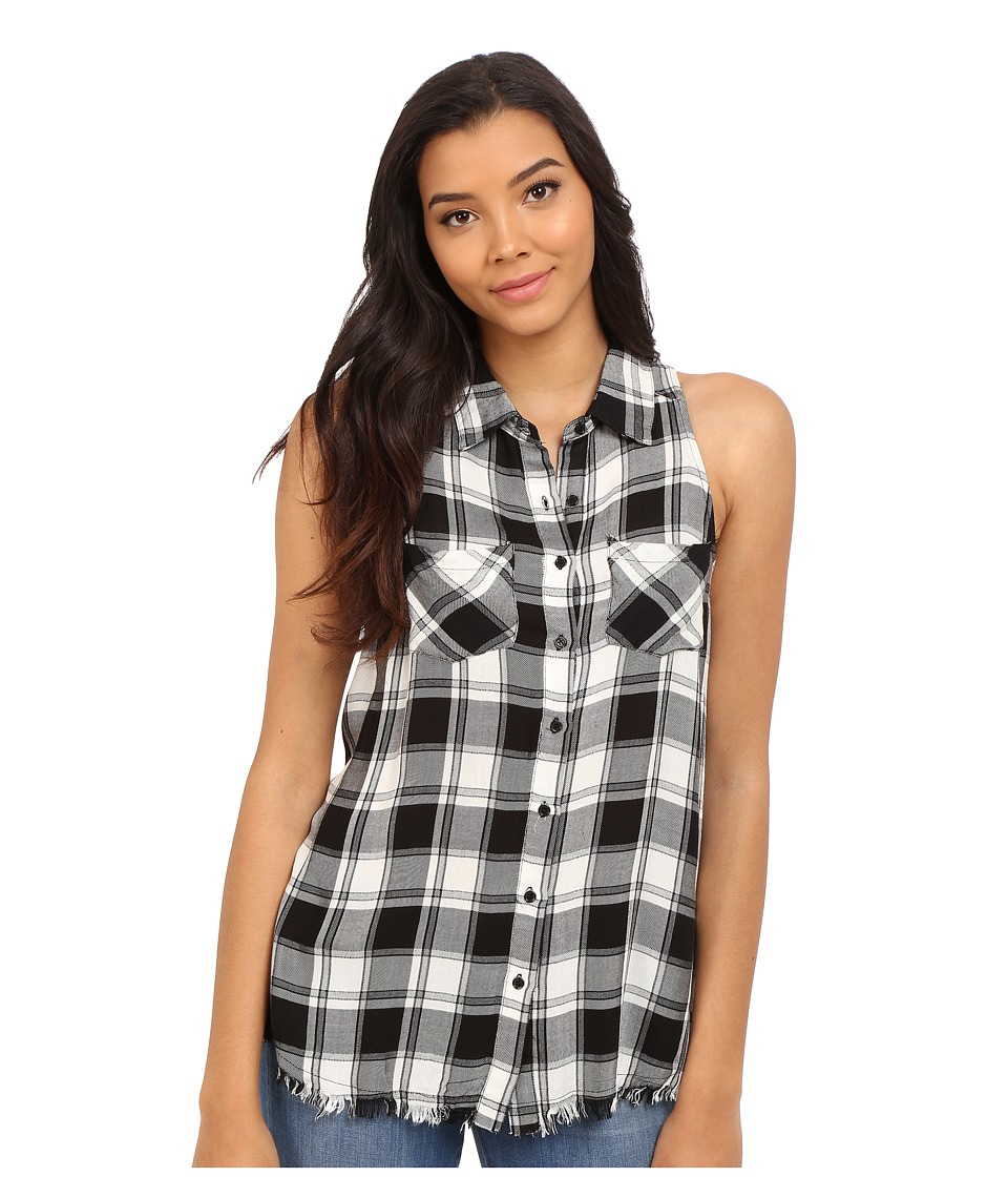 Brigitte Bailey - Brilynn Button Up Plaid Top with Pockets (Black/White) Women's Clothing