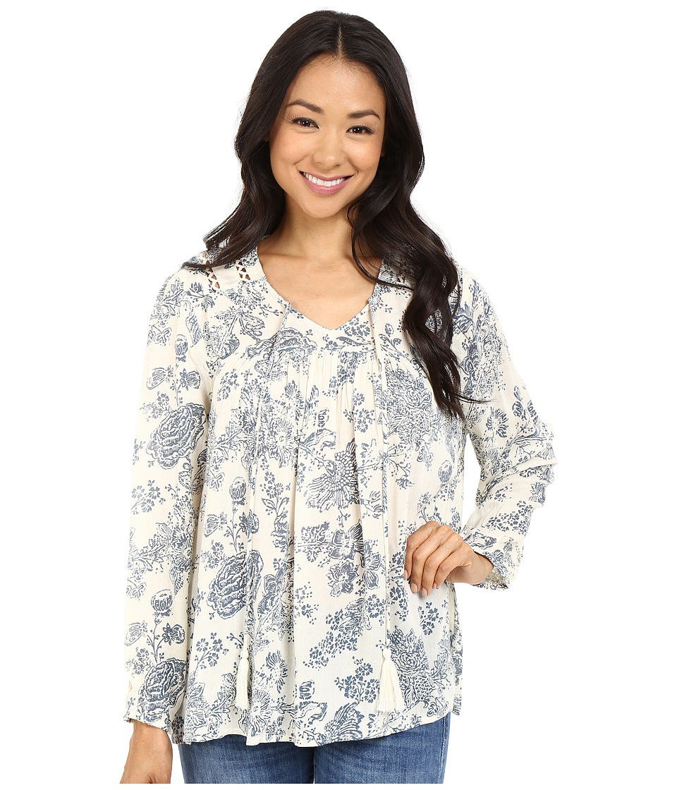 Brigitte Bailey - Elaria Long Sleeve Printed Top with Tassels (Ivory/Blue) Women's Clothing