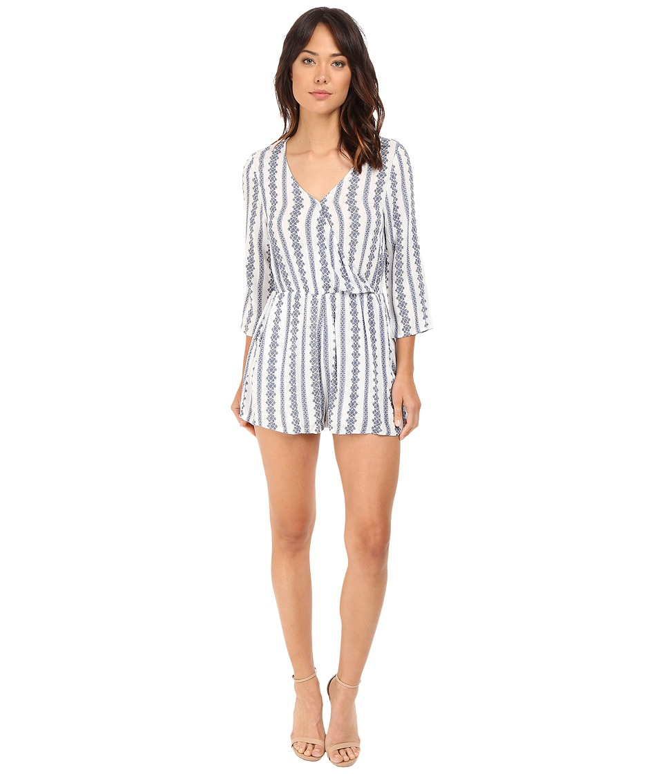 Brigitte Bailey - Hadley Overlap Romper with Roll-Up Sleeve (Off-White/Blue) Women's Jumpsuit & Rompers One Piece