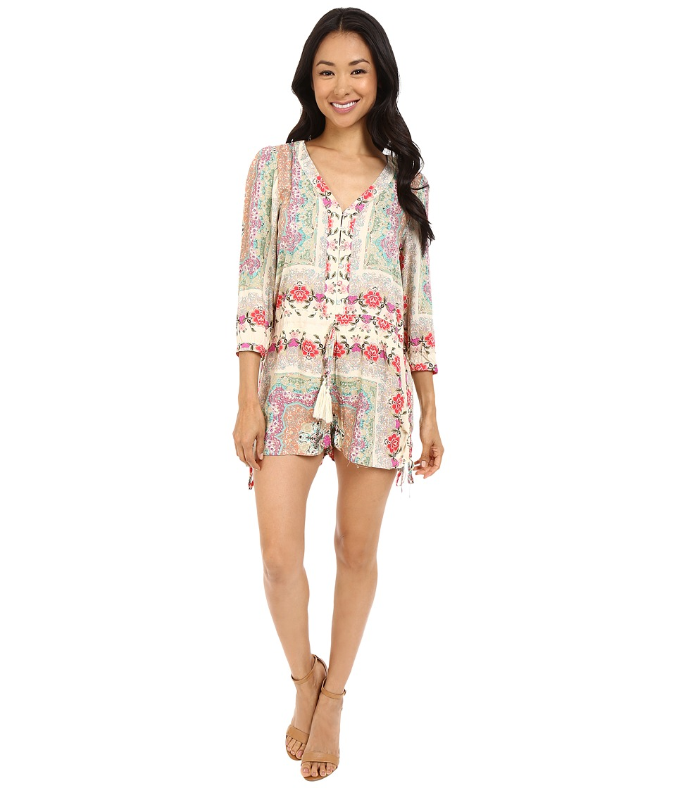 Brigitte Bailey - Phoebe Button Up Romper with Waist Tie (Multi) Women's Jumpsuit & Rompers One Piece