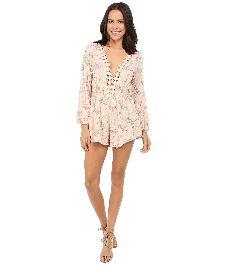 Brigitte Bailey - Tayanna Floral Romper with Crocheted Trim (Ivory/Tan) Women's Jumpsuit & Rompers One Piece