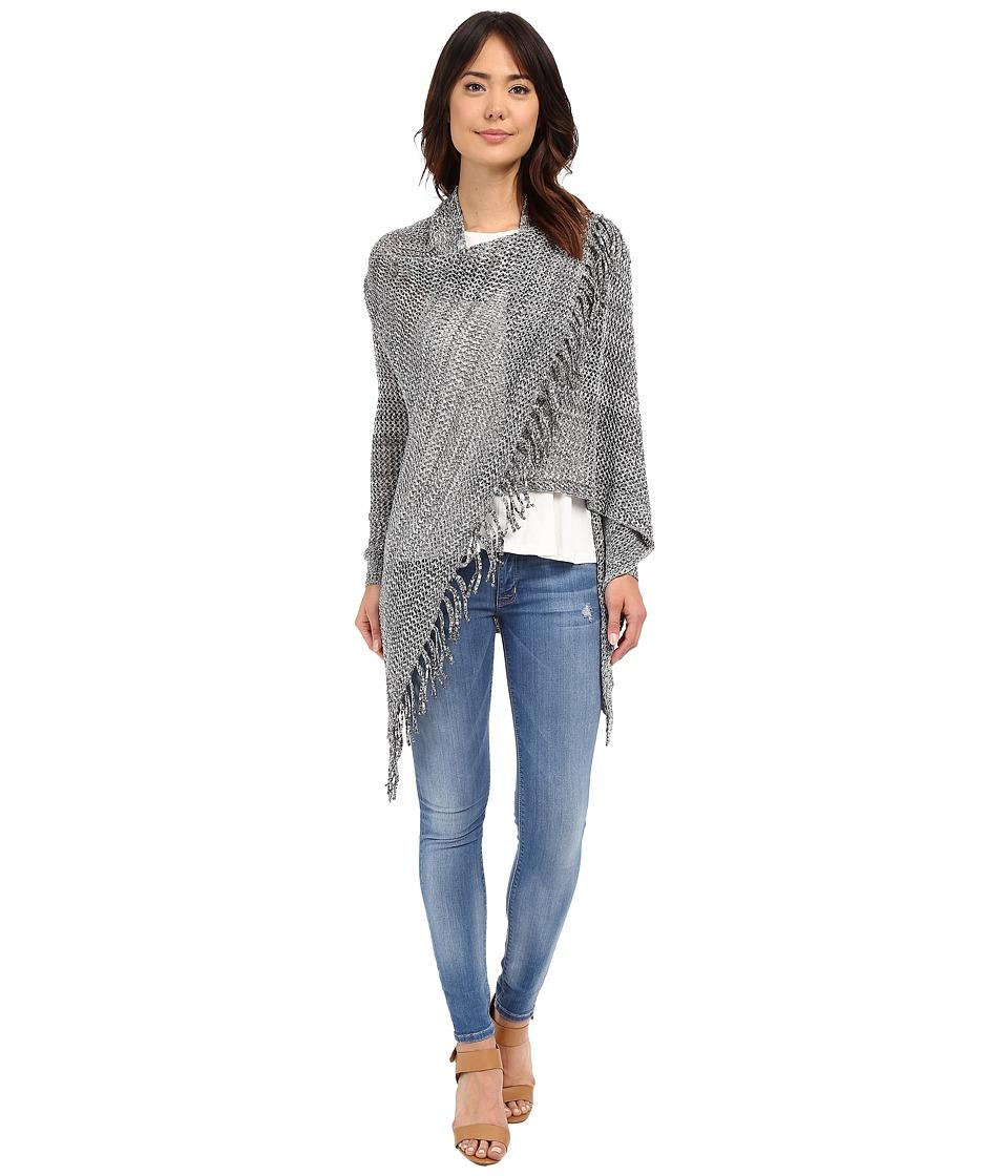 Christin Michaels - Arabell Long Sleeve Asymmetrical Fringe Cardigan (Grey) Women's Sweater