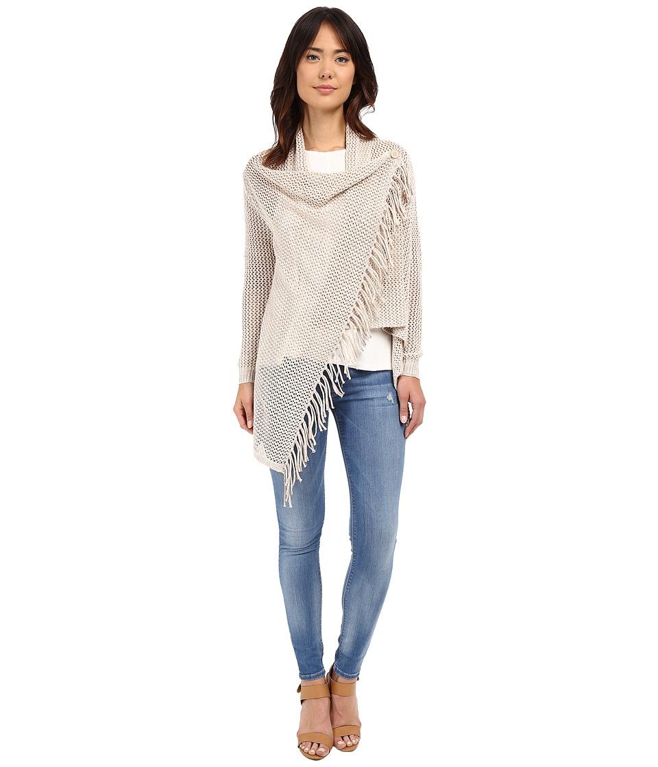 Christin Michaels - Arabell Long Sleeve Asymmetrical Fringe Cardigan (Beige) Women's Sweater
