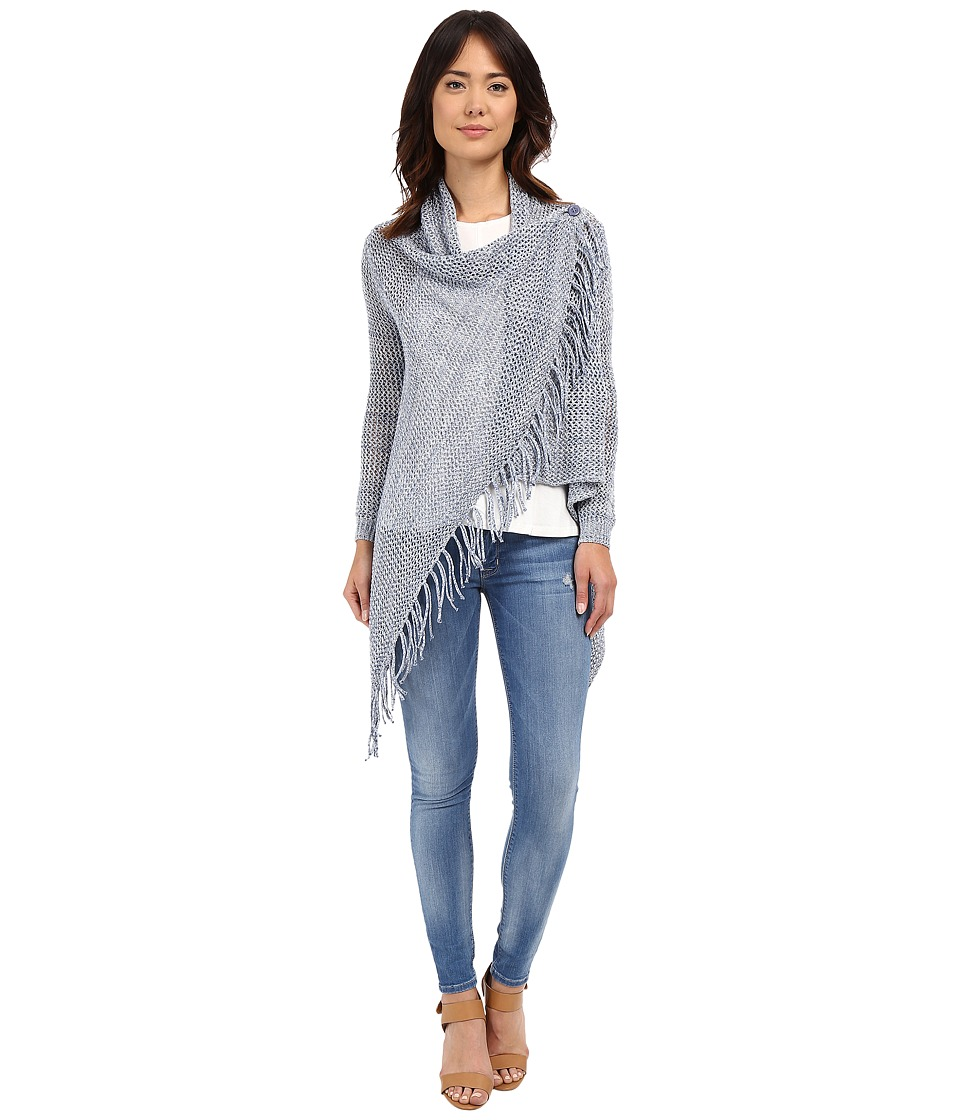 Christin Michaels - Arabell Long Sleeve Asymmetrical Fringe Cardigan (Light Blue) Women's Sweater