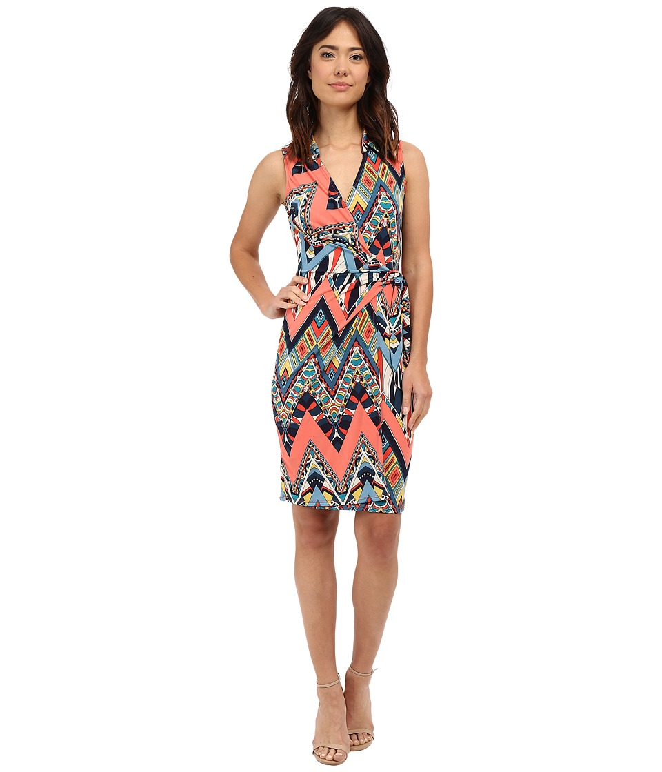 Christin Michaels - Gracy Sleeveless Wrap Dress with Collar (Pink Print) Women's Dress