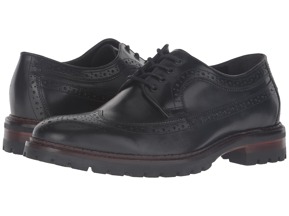 Johnston & Murphy - Jennings Wingtip (Black Calfskin) Men's Lace Up Moc Toe Shoes
